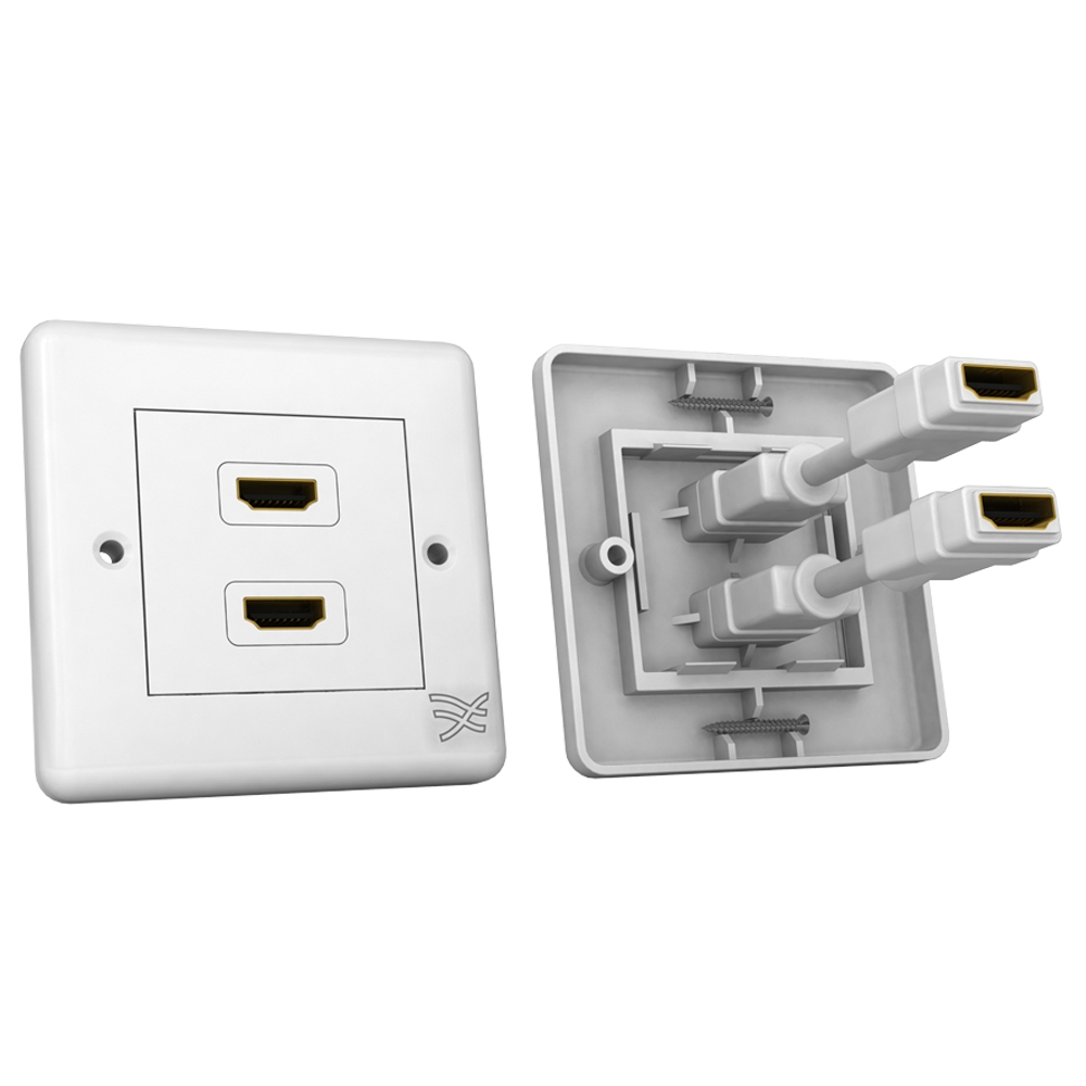 Cablesson HDMI Wall Plate Dual Connector 100/100 - White